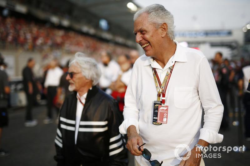 Bernie Ecclestone, Chairman Emeritus of Formula 1., with Marco Tronchetti Provera, CEO, Pirelli