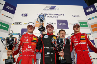 Podium: Race winner Jüri Vips, Motopark Dallara F317 - Volkswagen, second place Mick Schumacher, PREMA Theodore Racing Dallara F317 - Mercedes-Benz, third place Ralf Aron, PREMA Theodore Racing Dallara F317 - Mercedes-Benz