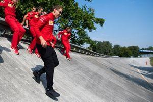 Sebastian Vettel, Ferrari walks down the Monza banking