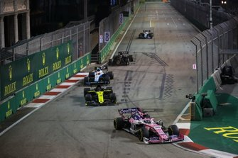 Sergio Perez, Racing Point RP19, leads Daniel Ricciardo, Renault F1 Team R.S.19, Robert Kubica, Williams FW42, and Romain Grosjean, Haas F1 Team VF-19
