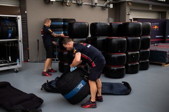 Pirelli tyres allocated to Red Bull are sorted into blankets in the paddock