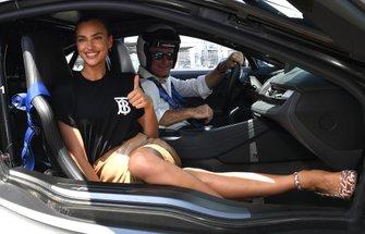 Alejandro Agag, CEO, Formula E, model Irina Shayk in the BMW i8 Safety car