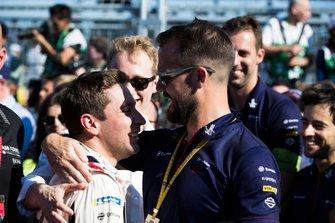 Robin Frijns, Envision Virgin Racing, Audi e-tron FE05, celebrates with Leon Price of Virgin Racing