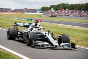 Lewis Hamilton, Mercedes AMG F1 W10, 1st position, celebrates victory on his way to Parc Ferme
