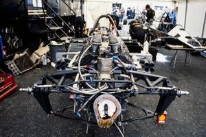 The chassis of the Lotus 79 Ford, stripped of all bodywork in the paddock