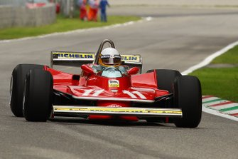 Jody Scheckter demonstrates the Ferrari 312T4 he won his world championship title with 40 years ago