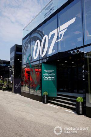 The Aston Martin hospitality with 007 logo