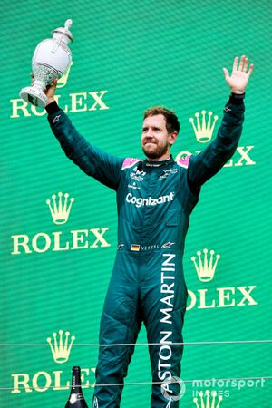 Sebastian Vettel, Aston Martin, 2nd position, lifts his trophy