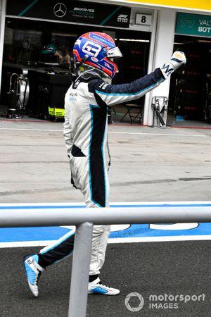 George Russell, Williams, celebra después de la carrera