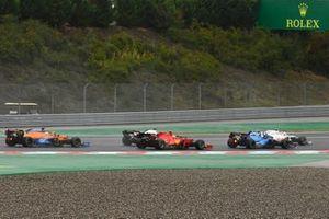 George Russell, Williams FW43B, Carlos Sainz Jr., Ferrari SF21, and Daniel Ricciardo, McLaren MCL35M