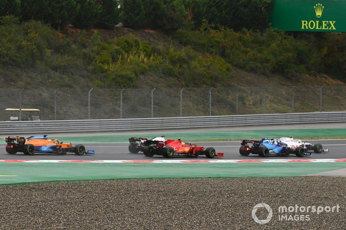 George Russell, Williams FW43B, Carlos Sainz Jr., Ferrari SF21, Daniel Ricciardo, McLaren MCL35M