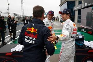 Christian Horner, Team Principal, Red Bull Racing, Max Verstappen, Red Bull Racing, 2nd position, and Sergio Perez, Red Bull Racing, 3rd position, in Parc Ferme