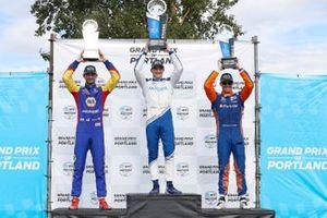 Alex Palou, Chip Ganassi Racing Honda, Alexander Rossi, Andretti Autosport Honda, Scott Dixon, Chip Ganassi Racing Honda celebrate on the podium