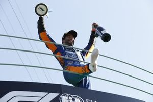 Daniel Ricciardo, McLaren, 1st position, celebrates on the podium