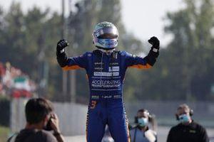 Daniel Ricciardo, McLaren, 1st position, celebrates on arrival in Parc Ferme