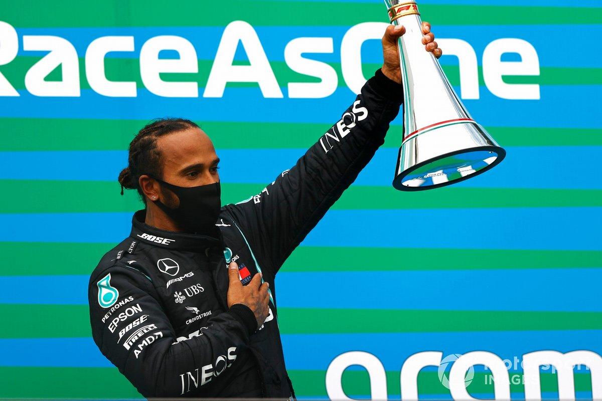 Lewis Hamilton, Mercedes-AMG Petronas F1, on the podium