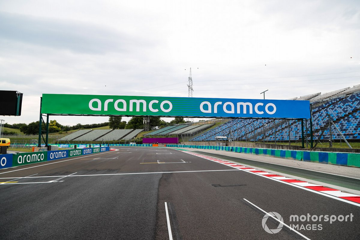 Pit straight detail, including Aramco signage