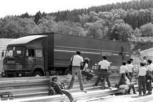 The Ferrari truck heads home