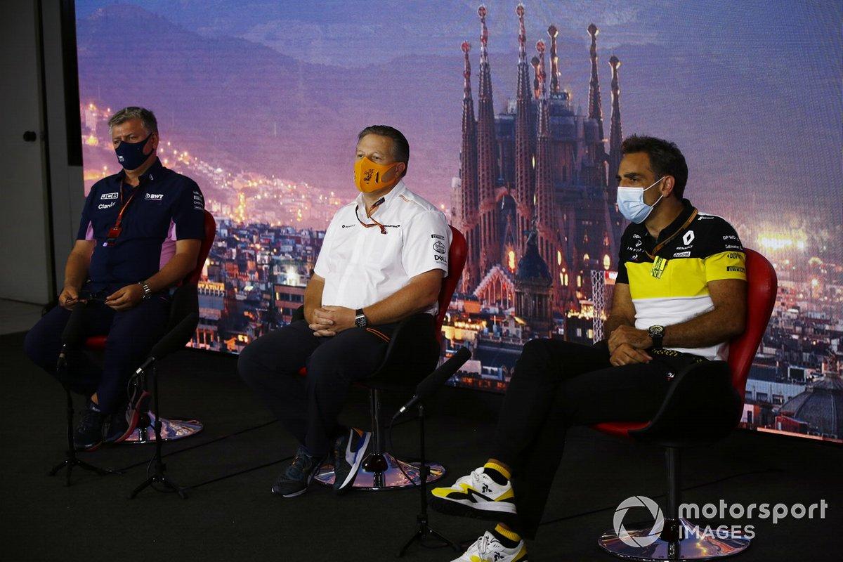 Otmar Szafnauer, Team Principal and CEO, Racing Point, Zak Brown, Executive Director, McLaren and Cyril Abiteboul, Managing Director, Renault F1 Team