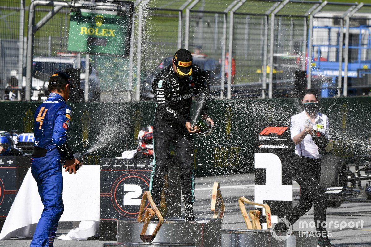 Race winner Valtteri Bottas, Mercedes-AMG Petronas F1, second place Charles Leclerc, Ferrari, third place Lando Norris, McLaren celebrate on the podium with the champagne