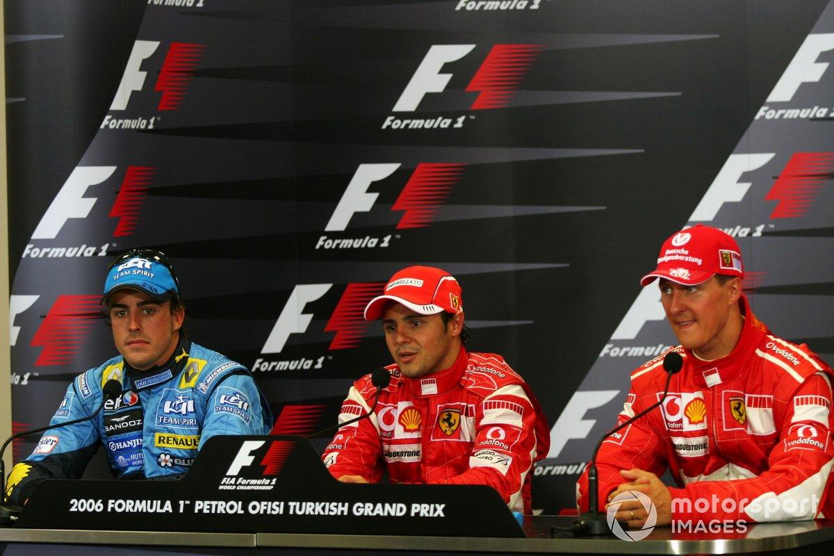 Podio del GP de Turquía 2006: 1. Felipe Massa, Ferrari, 2. Fernando Alonso, Renault, 3. Michael Schumacher, Ferrari