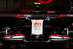 The Kevin Magnussen Haas VF-20 in the team's garage