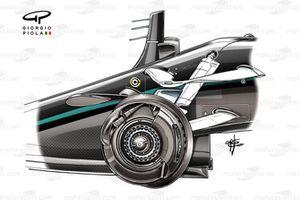 Les freins avant de la Mercedes W11