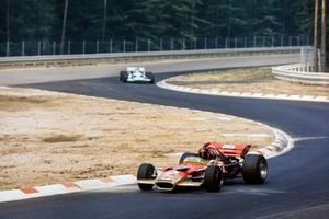 Emerson Fittipaldi, Lotus 49C Ford leads Henri Pescarolo, Matra MS120