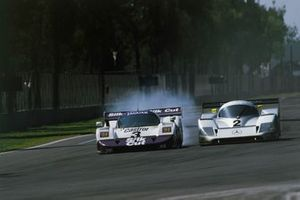 Martin Brundle, Jan Lammers, Jaguar XJR-11, leads Jochen Mass, Michael Schumacher, Mercedes-Benz C11