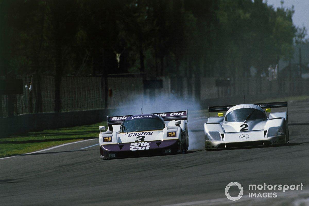 Martin Brundle, Jan Lammers, Jaguar XJR-11, leads Jochen Mass, Michael Schumacher, Mercedes-Benz C11