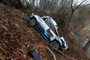 Car of Teemu Suninen, Mikko Markkula, M-Sport Ford WRT Ford Fiesta WRC after the crash