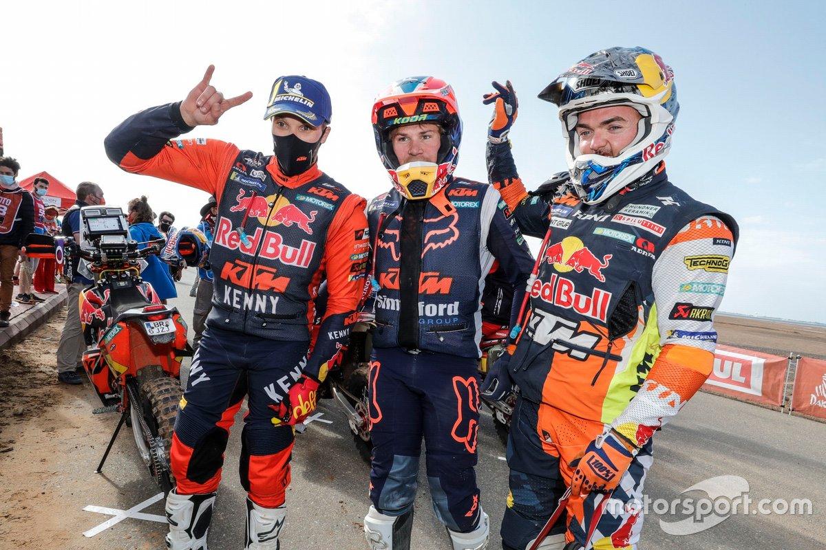 #5 Red Bull KTM Factory Racing: Sam Sunderland, #21 KTM Factory Team: Daniel Sanders, #52 Red Bull KTM Factory Team: Matthias Walkner