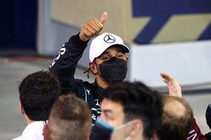 Lewis Hamilton, Mercedes, 1st position, celebrates in Parc Ferme