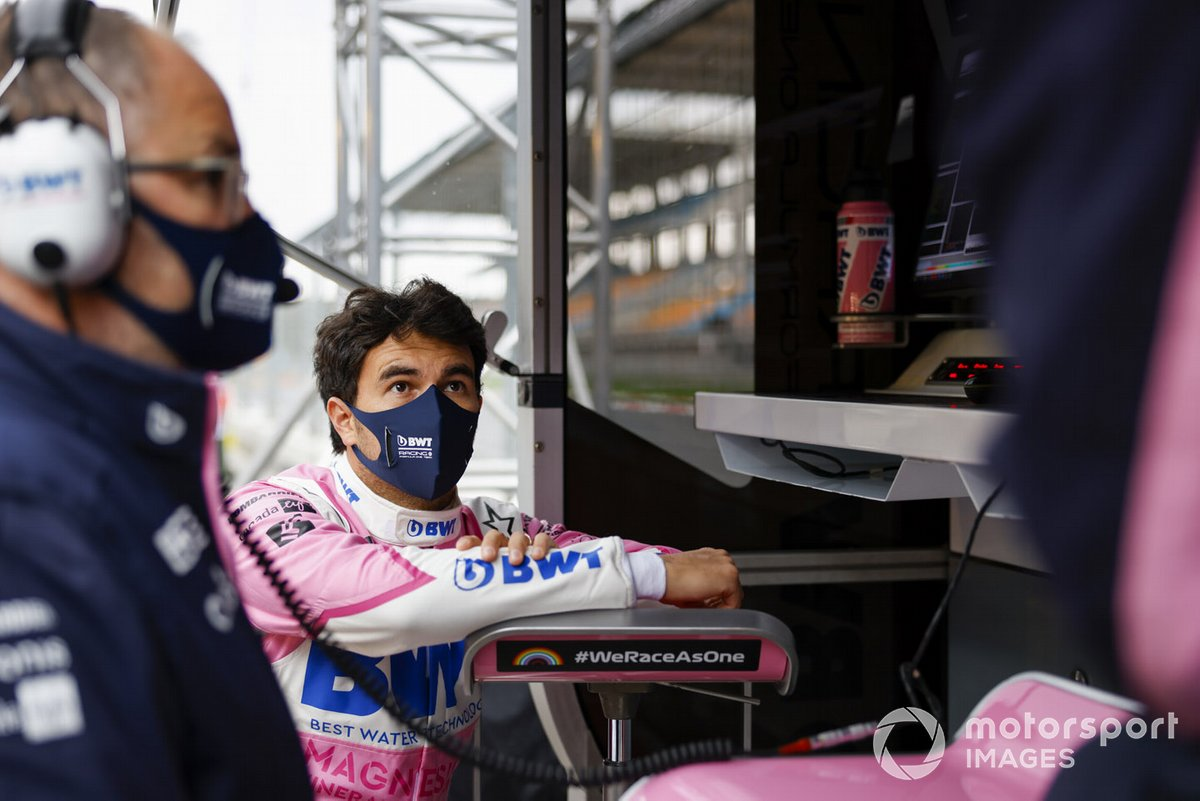 Sergio Perez, Racing Point, on the pit wall