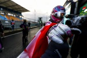 Lance Stroll, Racing Point, celebrates after taking pole position