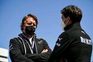 A Venturi team member with Jerome d'Ambrosio, Deputy Team Principal, Venturi Racing