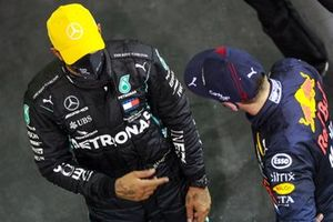 Lewis Hamilton, Mercedes-AMG F1, with Max Verstappen, Red Bull Racing, in Parc Ferme