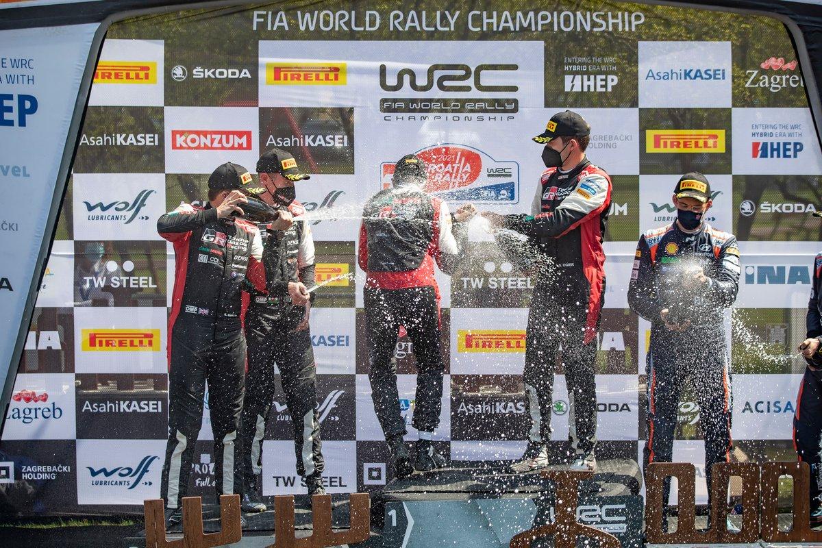 Podio: Ganador de la carrera Sébastien Ogier, Julien Ingrassia, Toyota Gazoo Racing WRT Toyota Yaris WRC, Elfyn Evans, Scott Martin, Toyota Gazoo Racing WRT Toyota Yaris WRC