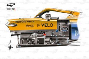 McLaren MCL35, dettaglio bargeboard al GP Eifel