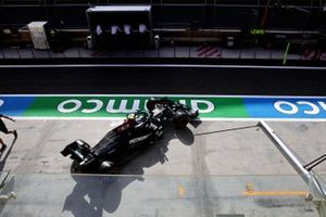 Valtteri Bottas, Mercedes W12, leaves the garage