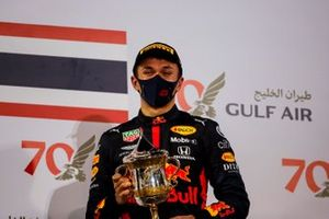 Alex Albon, Red Bull Racing, 3rd position, on the podium