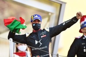 Antonio Felix Da Costa, DS Techeetah, DS E-Tense FE21, celebrates on the podium with a Portuguese flag