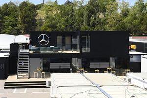 Mercedes motorhome in the paddock