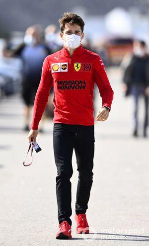 Charles Leclerc, Ferrari arriving at the Portugal GP