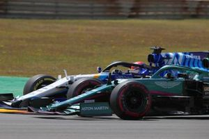 George Russell, Williams FW43B, battles with Lance Stroll, Aston Martin AMR21