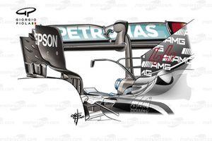 Alerón trasero del Mercedes AMG F1 W12 en el GP de Austria