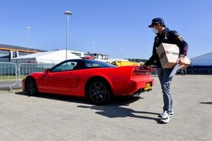 Sergio Perez, Red Bull Racing arrives in a Honda NSX