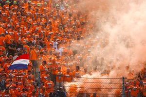Dutch fans turn the venue orange after a win for Max Verstappen, Red Bull Racing