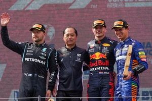 Podium: race winner Max Verstappen, Red Bull Racing, second place Valtteri Bottas, Mercedes, third place Lando Norris, McLaren