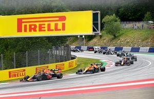 Max Verstappen, Red Bull Racing RB16B, Lando Norris, McLaren MCL35M, and Sergio Perez, Red Bull Racing RB16B